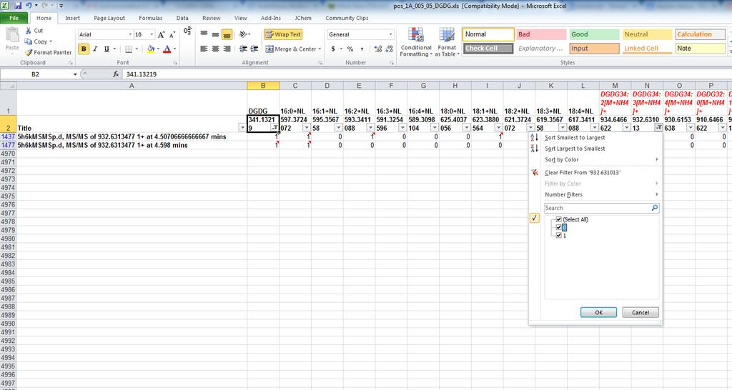 Step 2: Using excel filters to annotate lipids 5.