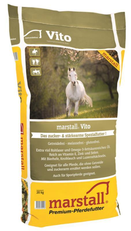 crude fibres from the Allgäu permanent grassland - For light-feed horses with little or no work marstall Vito a special grain-free food stuff for