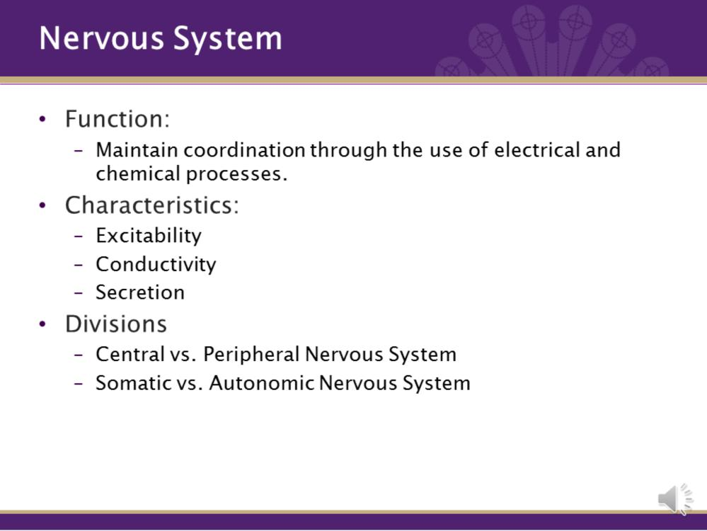 Nervous system maintains coordination through the use of electrical and chemical processes. There are three aspects: sensory, motor, and integrative, which we will discuss throughout the system.