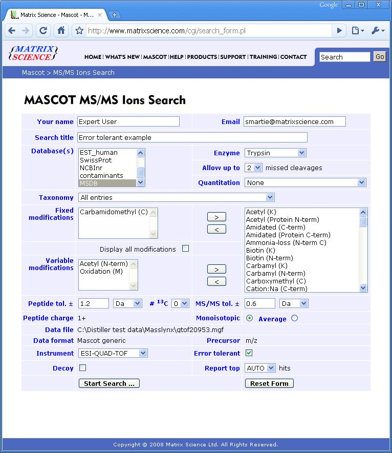 Error Tolerant Search : Modifications 2007-2010 Matrix Science Otherwise, submitting the