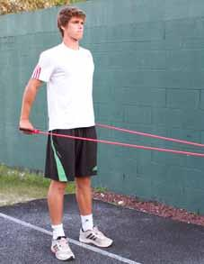 ST - 3 Straight Arm Rowing Strength Training Injury prevention in the shoulders/upper back Strengthening the upper back muscles Loop the tubing through a fence, or around another stationary object,