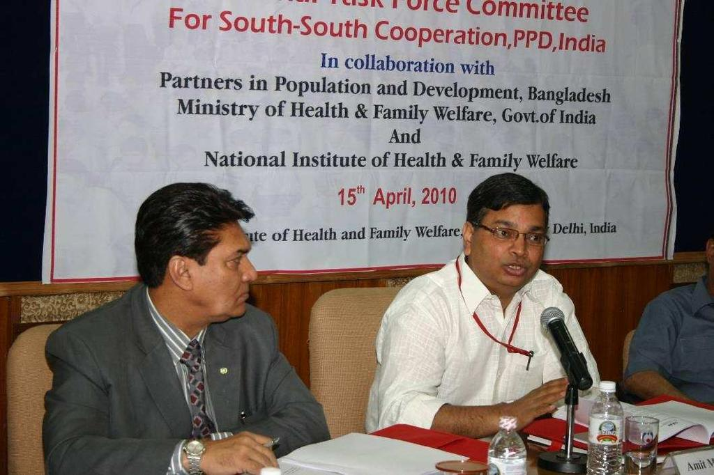 4.0 Address by Mr. Amit Mohan Prasad, Joint Secretary, MoHFW, GOI. PPD is a product of ICPD and it is fostering South-South Cooperation. Mr. Amit Mohan Prasad stated that a range of activities have been started to improve the Reproductive Health of men and women in country.
