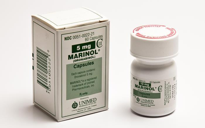Marinol Dronabinol (synthetic THC) Control of nausea and vomiting caused by chemotherapeutic agents used in