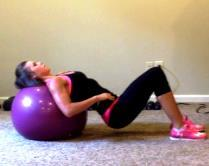 Ball Bridge Thrusts 0 3 20 1. Begin sitting on a stability ball. Walk your feet out in front of you until you are able to rest your head and shoulders on the ball. 2. You should be in the bridge position with both feet on the floor, knees at a 90 degree angle, back and hamstrings parallel to the floor, butt up, and core tight.
