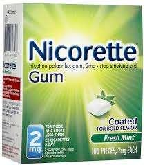 B-Nicotine Gum 1-The contents of a piece of gum are intended to be released over about 30 minutes.