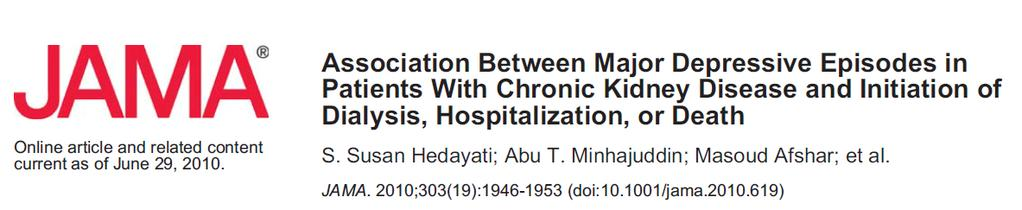 Not just death 267 patients with chronic kidney disease (stages 2-5 not receiving dialysis) Followed up to