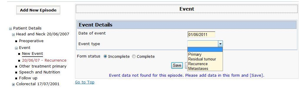 You must enter the date of the event and the type of event, then press save.