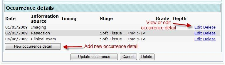 Edit Occurrence details Click the Occurrences item on the navigation menu. Click the Edit link located to the right of the relevant occurrence listing.