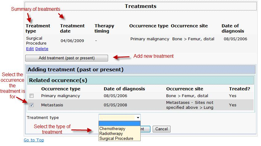 A4.6 Treatments This form captures information regarding the treatments provided to the patient for his diagnosis of bone or soft tissue disease.