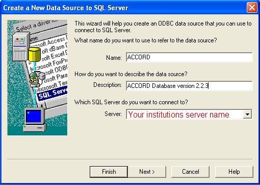 Select the Server ACCORD has been installed from the Server pull down box.