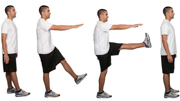 4. Hamstrings dynamic stretch Starting position: Stand with feet hip-width apart. With one hand, hold on to a stable object such as a counter or the back of a chair.