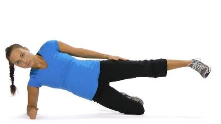 2. Sideways plank 2.1 Static Starting position: Lie on your side with the knee of lower- most leg bent to 90 degrees, support yourself on forearm and lowermost leg.