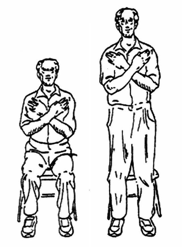 Procedure: Place the chair against a wall where it will be stable. Sit in the middle of the chair with your feet flat on the floor, shoulder width apart, back straight.