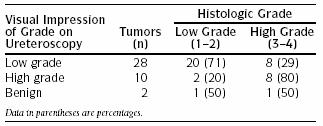Appearance and Stage 85% of upper tract TCC are papillary* 50% of papillary tumors invasive 15%