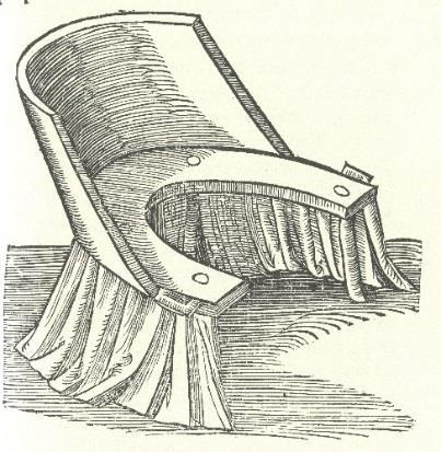 Wolveridge s birth stool mimicked that of Rueff but with minor alterations, being of curved contour to the upper rear.