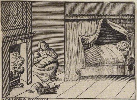 Illustrations Figure 4.27: The delivery room, mother, midwife and baby.