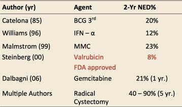 Intravesical therapies after BCG failure Chemotherapy Immunotherapy Valrubicin