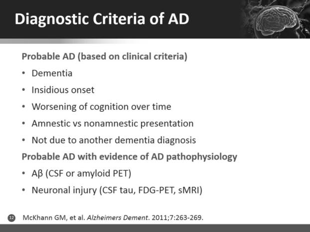 criteria National institute on Aging/Alzheimer s Association criteria These have many similarities New criteria Identify biology