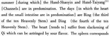 Summer and heart Heart Qi corresponds to summer thus its treatment follows the characters of summer Adjust the heart Qi by choosing the points on the heart (Shaoyin) and the small intestine