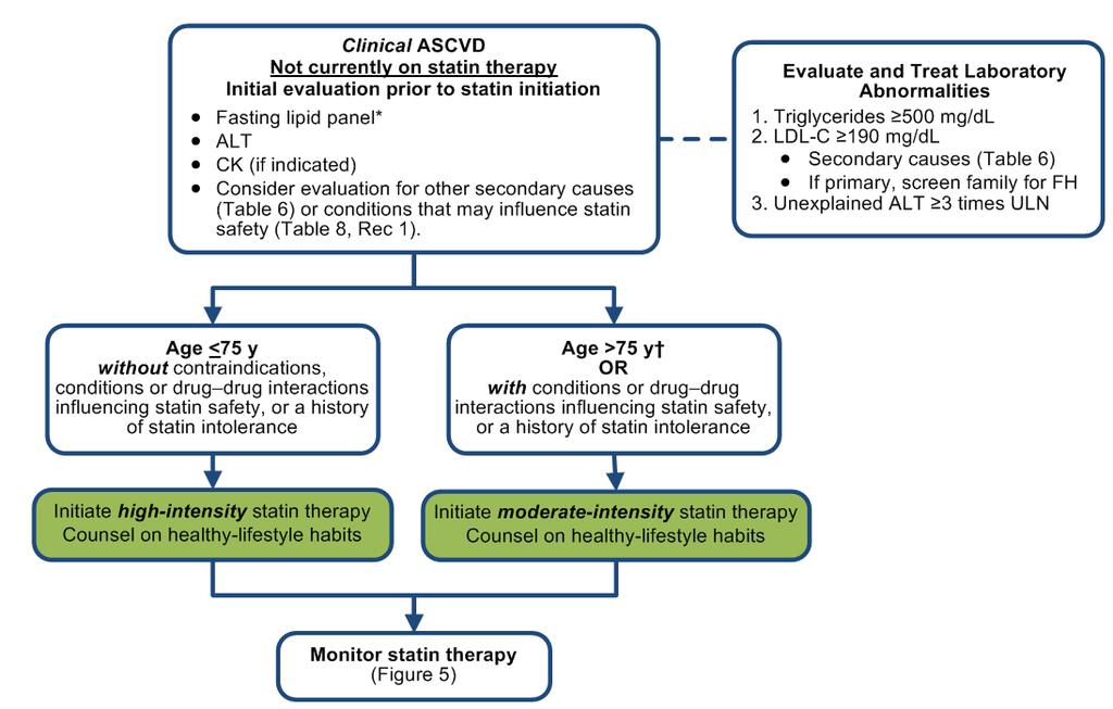 Clinical ASCVD: Initiating Statin Therapy *Fasting lipid panel preferred.