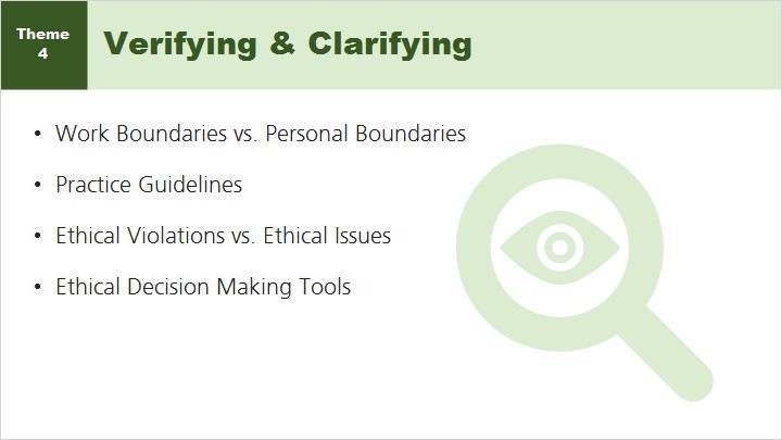 Certified Peer Specialists have many resources available to help in verifying and clarifying work boundaries.