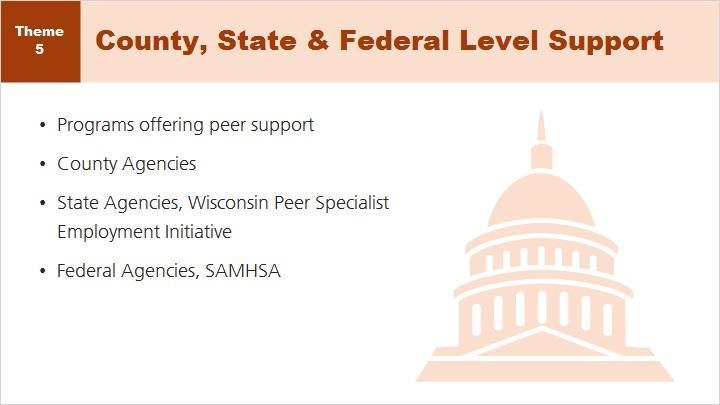 Resources continue at the local, state and federal levels. Become familiar with the other agencies in your area providing peer support.