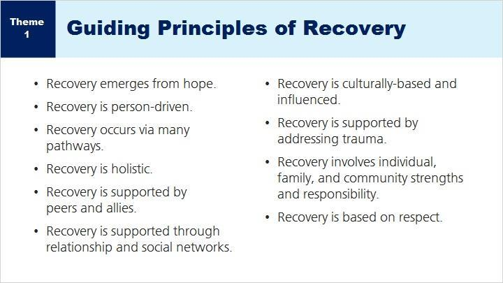SAMHSA defines recovery from mental disorders and/or substance use as a process of change through which individuals improve their health and wellness, live a self-directed life, and strive to reach