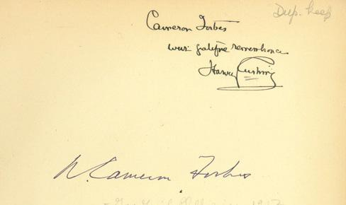 eron Forbes with grateful remembrance Harvey Cushing. With Forbes s signature and bookplate. $3000 First Edition.