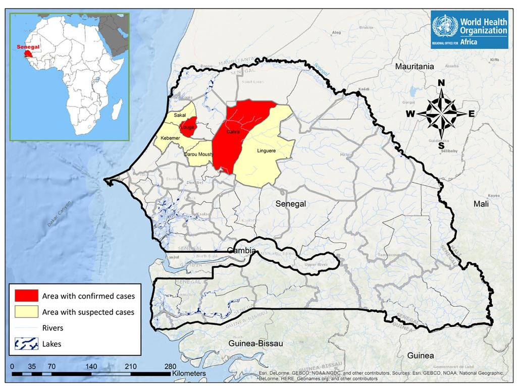 New event Dengue fever Senegal 232 Cases 0 0% Death CFR EVENT DESCRIPTION On 24 October 2017, the Ministry of Health and Social Action of Senegal notified WHO of an outbreak of dengue fever in Louga