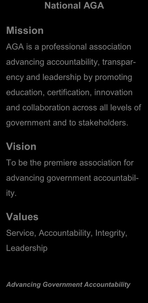 Vision To be the premiere association for advancing government accountability.