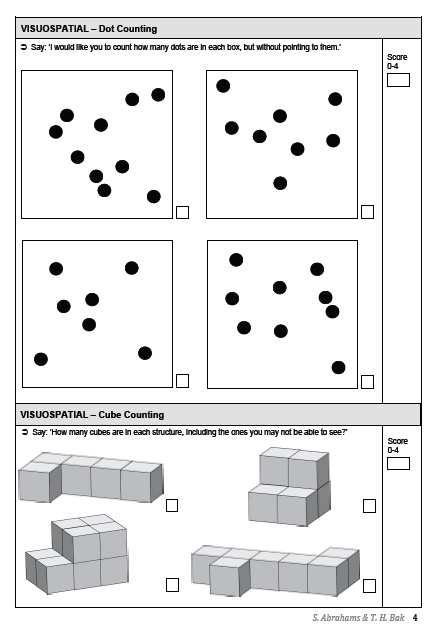ECAS VISUOSPATIAL FUNCTIONS (WITHOUT DRAWING) Number location Dots Cubes 7 Patients ECAS Subdomains: Frequency of Abnormal Performance (7 ALS patients) Motor features in dementias Cognitive disorders