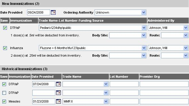 Enter a default immunization date in the Date Administered field using the MM/DD/YYYY format, or use the pop-up calendar by clicking the calendar icon to the right of the field.