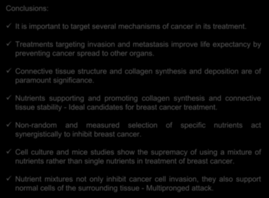 Nutrients supporting and promoting collagen synthesis and connective tissue stability - Ideal candidates for breast cancer treatment.