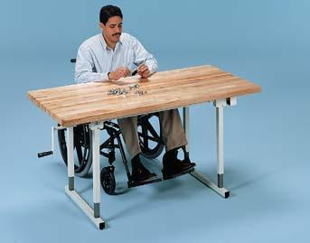 HI-LO WORK TABLES Crank Adjustable Hi-Lo Work Tables Convenient crank gear height adjustment from 26 to 38.