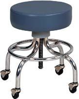 090128 Physical Therapist Stool Chrome Base Stool Smooth machine screw height adjustment.