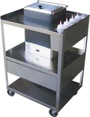 quality electrodes Hot Pack Service Center (4) 8 oz. Bottle storage. Polished stainless steel and swivel casters.