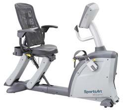Exercise Equipment RECUMBENT BIKES (CON T) C521M Recumbent Bike by SportsArt Includes the combination of bi-directional pedal rotation and resistance, plus bi-directional free spin function.
