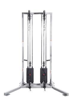 041538 Ultimate in adjustable cable systems with dual stacks, dual pulleys, handle storage and chin/pull-up bar.
