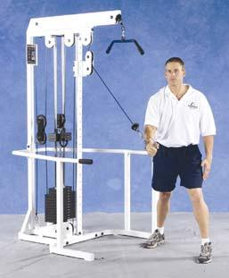 041537 Free standing adjustable pulley w/ dual pulleys Nautilus Pulley Systems - F3DTT Wheelchair accessible, capability of two individuals exercising at the same time, unilateral or bilateral