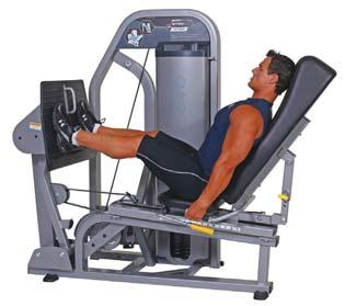 Leg Press The four-bar linkage foot platform articulates as you go through desired range of motion to reduce shear forces at the knee.