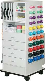 027128 The Combo Storage Rack includes builtin banding storage, pegboard on two sides, (24) hooks and two built-in racks for (20) dumbbells and