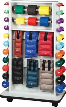 Clinical Supplies STORAGE RACKS (CON T) Mobile Cuff Weight/Dumbbell & Band Rac 2 rods hold up to 6 hollow core 50 yds. band rolls. (All items shown not included.). Solid surface, no pegboard to chip.