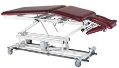 Treatment Tables 3 Section - Fixed Center Top dimensions 76 x 27 overall Height range 18-37 34 oz. vinyl with antibacterial protection 1-1/2 firm density foam 400 lb.