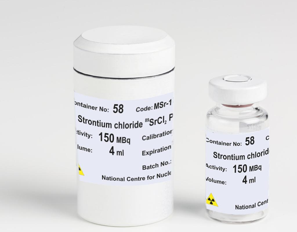 Strontium chloride 89 SrCl 2 POLATOM 37.5 MBq/ml solution for injection Stronti ( 89 Sr) chloridi solutio iniectabilis code: MSr-1 Strontium-89 chloride 37.5 MBq/ml. Strontium-89 is a pure beta emitter with an energy of 1.