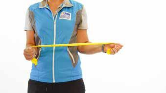 Hold one end of the exercise band in each hand Step 3: Start with your right hand and pull the exercise band away from your left hand. Slowly rotate your right forearm outward two or three inches.
