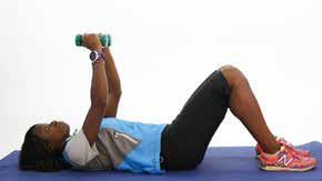7) Chest Fly (chest muscles) For an alternative see exercise 7A Equipment: Dumbbells, exercise mat Step 1: Bend your knees and place your feet flat on the floor Step 2: Grab 1 dumbbell in each hand.