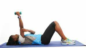 9) Supine Triceps Extensions (arm muscles) For an alternative see exercise 9A Equipment: Dumbbell, exercise mat Step 1: Bend your knees and place your feet flat on the floor.