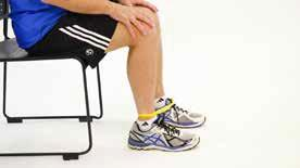 2A) Seated Leg Extension (thigh muscles) Equipment: Exercise band (tie band to form a loop), chair Step 1: Sit back in a chair and place one end of the loop under your left foot and the other