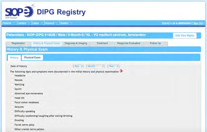 Chapter 14 FIGURE 2 Screenshot of the SIOPE DIPG Registry showing the electronic Case Report Forms (e-crfs) The open tab represents the e-crf for history and physical exam In parallel to the clinical
