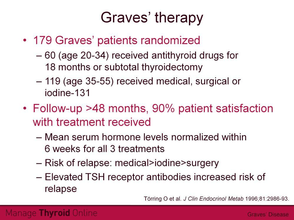 The benefits and risks of the three common treatments for Graves disease were assessed in this randomized clinical trial.
